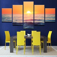 peintures de plage au coucher du soleil achat en gros de-Art mural pour cadre de salon 5 pièces Sunset Beach Sea Waves Toile Peintures Affiches Sunrise Seascape Photos Décor à la maison