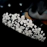 ingrosso sposa da micro vestito-Royal sposa bella mano handmade micro intarsio zircone pieno adulto principessa corona bianca accessori abito da sposa.