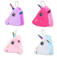 Wholesale bag girl rolling for sale - Fashion Plush Unicorn Coin Purse Cartoon Lady Girls Creative Zipper Mini Wallet Storage Bag Children Schoolbag Pendant sm hh