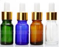 botellas de aceite de perfume de vidrio verde al por mayor-Precio al por mayor 10 ml Glass Eye Dropper Bottle, Clear Amber Green Blue BOTELLA DE ACEITE ESENCIAL, 10 ml Portable Small Perfume Botes 120 unids