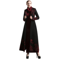 черные пальто для женщин оптовых-New Fashion S-XXXL Autumn Winter Embroidery Black Long Coat Florals Plus Size  Trench Women Muslim Outwear 6254