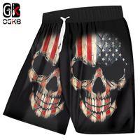 ingrosso imbarco americano-OGKB Men Swimshorts Summer Cool Print Bandiera americana 3d Board Shorts Skull Bermuda Shorts Uomo Fitness allenamento al ginocchio pantaloni