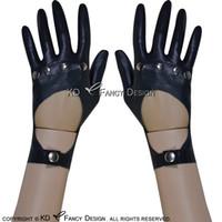 ingrosso guanti in lattice nero-Guanti Corti sexy in lattice con rivetti e pulsanti Guanti di gomma Guanti di gomma Plus Size ST-0045