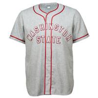 бейсбольные штаты оптовых-Вашингтонский Государственный Университет 1948 Дорожный Джерси 100% Сшитые Логотипы Вышивки Старинные Трикотажные Изделия Бейсбола Обычай Любое Имя Любое Количество