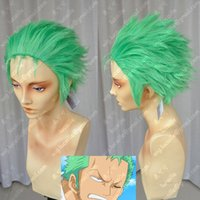 ingrosso parrucche di un pezzo-Janpanese Anime ONE PIECE Parrucca verde con schienale corto Short Layer Roronoa Zoro Parrucche Cosplay comiche + Cappellino per parrucca