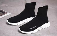 Wholesale Low Ankle Boots For Men - 2017 Speed Sock Ankle Boot high quality Trainer running sport shoes for men and women shoes Speed stretch-knit Mid sneakers ,size Eur 36-44