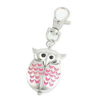 Wholesale Owl Pendant Pink - Silver Tone Pink Metal Owl Pendant Knob Adjustable Time Keyring Watch