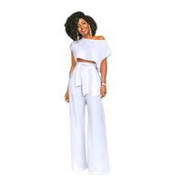 Wholesale women sexy jumpsuits wide leg - Women Summer New Arrival 2018 Sexy Fashion Casual Party Long Pants Wide Leg Loose African Rompers Jumpsuits Two Piece Set 200721
