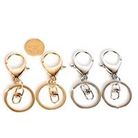 fecho do anel chave venda por atacado-50 PCS 33mm de Alta Qualidade de Prata de Ouro Fecho Da Lagosta Clipes Chave Gancho Chaveiro Split Key Ring Chaveiros fazendo