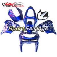 mavi 1998 zx9r toptan satış-Kawasaki ZX-9R Yıl 1998 için Mavi Beyaz Alev Fairings - 1999 1998 1999 Sıkıştırma Motosiklet Kaporta Yüksek Kalite Komple Hulls
