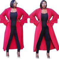 mulher cape ruffles venda por atacado-Beads Cardigans Capes 2018 Inverno Mulheres Cascata Tri-camadas Vermelho Ruffled Manga Comprida Solta Longo Trench Coat Moda Casual Outwear