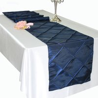 lacivert düğün masaları toptan satış-Yeni Varış 20 adet / grup Için 30 * 275 cm Lacivert Tafta Masa Koşucular Otel Ziyafet Düğün Parti Dekorasyon Chemin De Masa