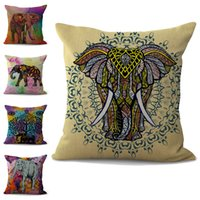 Wholesale colorful throw pillows resale online - Colorful Elephant Pillow Case Cushion cover linen cotton Throw Square Pillowcase Cover Decor Drop Ship