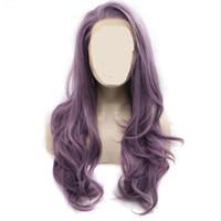длинный волнистый фиолетовый парик оптовых-MHAZEL длинные волосы смешанный фиолетовый длинный натуральный волнистый синтетический парик фронта шнурка для афро-американской женщины