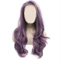 Wholesale body wave african american wigs resale online - MHAZEL long hair mixed purple long natural wavy synthetic front lace wig for african american woman