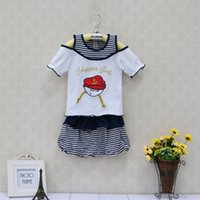 Wholesale 12 Month Christmas Dress - Baby clothes girl Kids Clothing summer dress Children's dress Outfits christmas kidswear apparel fashion navy style skirt Sets newborn gifts