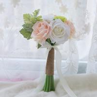 accesorios del ramo de la mano de la novia al por mayor-Ramos artificiales de la boda de la vendimia para la mano de seda de la novia que sostiene las flores Boda nupcial hecha a mano de la boda Accesorios Rose blanca CPA1565