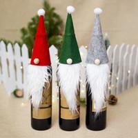 bebekleri hissetmek toptan satış-Noel Dekorasyon Rudolph Şapkalar Keçe Şarap Şişesi Kapağı Noel Baba Sakal Bebek Şekli Noel Masa Dekorasyon 3 Renkler WX9-1074
