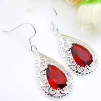 Wholesale colourful flowers - Whosale --Top Quality colourful Red Kunzite 925 Silver Dangle Earrings E0177