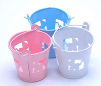 cubos de lata azul al por mayor-Blanco azul rosado perforado carros de bebé Mini favor cubo caramelo caja de regalo dulce titular de la placa de la lata para la boda Baby Shower Supplies
