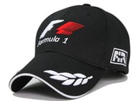 Wholesale car racing girls - Outdoor men world champinship F1 racing cap sports male baseball cap car motorcycling visors sun hat black free shipping