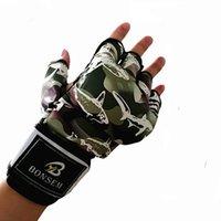 boxhandschuhe design großhandel-Camo Design Halbfinger-Handschuhe Muay Thai Boxhandschuhe Training Punching Sparring Kickboxen Kampfsporthalle für Sport Erwachsene 26bl ZZ
