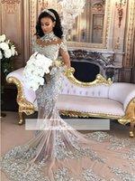 Wholesale wedding gown shirt collar - Arabic Luxury 2018 Lace Applique High Neck Mermaid Wedding Dresses Beaded Illusion Long Sleeves Chapel Train Wedding Bridal Gowns BA6703