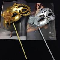 boule de masque or argent achat en gros de-Princesse Femme Masque Sur Bâton Sexy Vénitienne Costume Boule Maskes Sequin Dentelle Bord Latérale Fleur Or Argent Couleur Parti Masque CCA10254 200 pcs