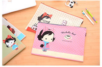 Wholesale cute stationery folder for sale - Group buy Factory Cartoon Honey Snow Girl a4 Folder For Documents Oxford Fabric Zip A4 Document Bag File Folders Cute Students Stationery