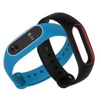 uhrenbänder zum verkauf großhandel-Heißer Verkauf Bunte Silikon Armband Armband Doppel Farbe Ersatz armband für Original Xiaomi Mi band 2 Armbänder