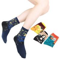 harajuku tarzı çoraplar toptan satış-Spor Pamuk Sanat Yağlıboya Harajuku Washington Davi Erkek Kadın Cupid Retro Tarzı Kadın Çorap Erkek Çorap
