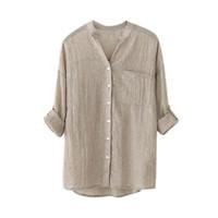 plus size female clothing al por mayor-Coon camisa de lino más el tamaño S-4XL Blusa Roll Up manga tres cuartos camisa femenina moda Casual Ladies Clothing Camisa Mujer