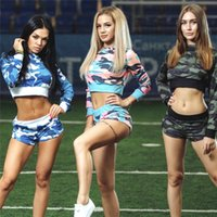 Wholesale shorts suit set for women online - Sexy Sport Hooded Suits for Women Long Sleeve Crop Top and Shorts Sets Colors Cameo Pullover Sweatshirts Printed Sportwears