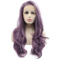 длинный волнистый фиолетовый парик оптовых-Sexy Glueless Высокотемпературного Волокна Натуральные Волосы Парики Волос Мягкий Швейцарский Фиолетовый Длинные Волнистые Синтетический Парик Фронта Шнурка для Женщин Плотность 180%