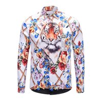 Wholesale collars for blouses for sale - brand clothes blind for love shirts men long sleeve Bengal tiger shirts hip hop party club tops business blouse