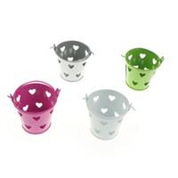 Wholesale decoration pails - HENGHOME 1Pc Party Decoration Mini Wedding Candy Metal Heart Tin Buckets Box Levitating Flowerpot Hollow Pails Candy Box