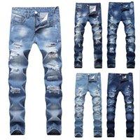 ingrosso jeans a mosca per bottoni per uomini-Pantaloni jeans strappati da uomo firmati 2018 Pantaloni slim fit blu chiaro Pantaloni jeans strappati da uomo Pantaloni distrutti con bottoni