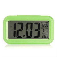 lcd led backlight оптовых-OULII Novelty Light Sensor White LED Backlight Digital LCD Display Electronic Alarm Clock with Time Calendar Snooze Function