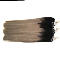 extensiones de cabello micro loop 1g hebras al por mayor-Micro Loop Ring Ombre Extension Remy Hair Cabello de color natural Locks 10-26''Micro Bead Hair Extensions 1g / strand 100g