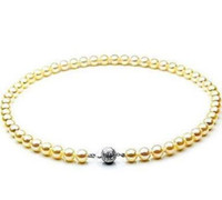 collar del mar del sur al por mayor-Hot 8-9mm Natural South Seas Gold Pearl Necklace 18inch 925 Silver Broche