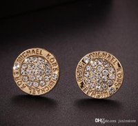 Wholesale wholesale wedding earings for sale - 2018 selling New York Fashion Logo Pave Tone Stud Earrings High quality crystal round Earings fashion brand Wedding jewelry for women girls