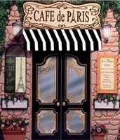 ingrosso modello di sfondo-5x7FT Cafe De Paris Retro Stone Coffee Store Torre Eiffel Modello Personalizzato Photo Studio Sfondo Sfondo in vinile 220cm x 150cm