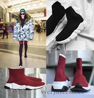 Wholesale womens lace boot socks - 2018 fashion Sock boots high quality Designer running shoes for mens womens sports shoes Speed stretch-knit Mid sneakers size Eur 36-45