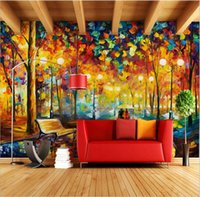 etiquetas do japão para miúdos venda por atacado-Grande mural 3D Wallpapers Parede abstrata moderna Pintura a óleo Rain Tree Estrada espátula pintura da parede da lona decoração Home
