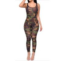 barboteuses sexy de l'armée achat en gros de-Été manches sexy moulante Porter armée imprimé camouflage Skinny barboteuses femmes Jumpsuit Bodysuit Salopette Sprotsuit S2333