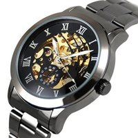 relógios de luxo de aço tungstênio venda por atacado-Algarismos Romanos de Luxo dos homens de Aço De Tungstênio Esqueleto Mecânico Relógio de Pulso quente Relojes
