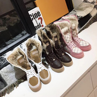 Wholesale white knee high lace up boots resale online - Women Brand Designer Winter Boots Warm Fur Boots Top Quality Leather Warm Snow Boots Designer Shoes Fashion Casual Suede Real Fur Slides W1