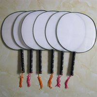 Wholesale black white art paints animals for sale - Group buy Blank White Round Silk Fan Wooden Handle Tassel Students Children DIY Fine Art Painting Fun Chinese Hand Fans xx Z