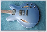 hohlkörper e-gitarren zum verkauf groihandel-HOT SALE Custom Dave Grohl Signature Metallic blue Jazz Hollow Body Electric Guitar