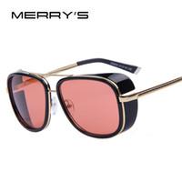 demir güneşi toptan satış-MERRY'S DEMIR ADAM 3 Matsuda TONY Steampunk Güneş gözlükleri Erkekler Aynalı Tasarımcı Marka Gözlük Vintage Güneş gözlükleri
